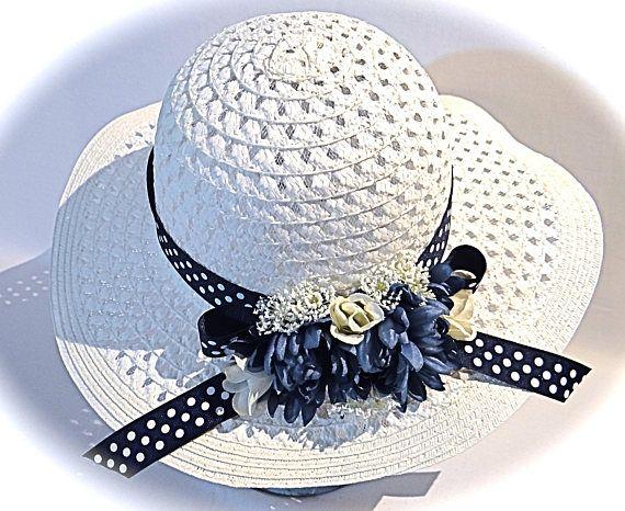 Girl S Large White Sun Hat Easter Hat Tea Party Hat Gh 102 Etsy Tea Party Hats Easter Hats Hats