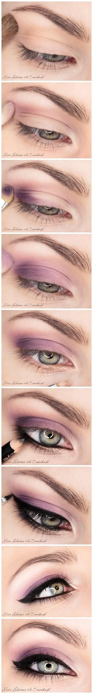 eyeliner + purple eye shadow: Purple Eyeshadows, Make Up, Cat Eye, Eye Shadows, Eyemakeup, Smokey Eye, Green Eye, Eye Makeup Tutorials, Greeney