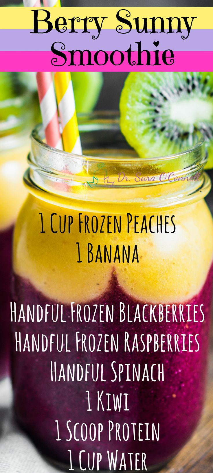 Fresh Berry Sunny Smoothie. This delicious, natural, green berry smoothie is the perfect healthy treat for summertime or adding more sunshine into your life. Top layer is frozen peaches and banana. Bottom layer is frozen blackberries, raspberries, spinach, kiwi and a scoop of protein powder, add water and blend! Repin if you are in and click on the image for my FREE clean eating grocery list!