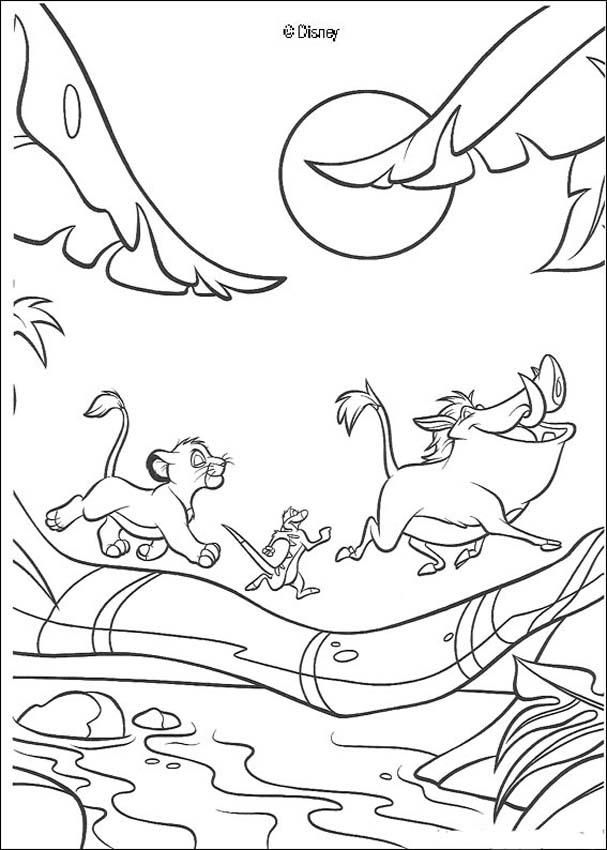 The Lion King coloring pages - Simba, Timon and Pumbaa running