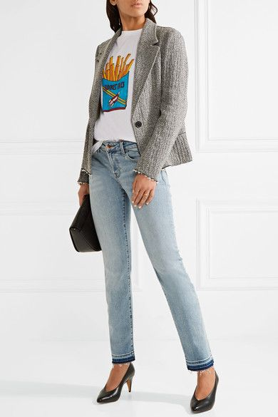 J Brand - Amelia Frayed Mid-rise Slim-leg Jeans - Light denim - 25