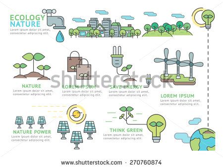 Set of Flat line icon & infographic design concept Ecology and Nature / Infographic Element / icon / Symbol , Vector Design - stock vector