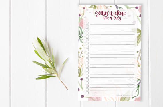 Notes Floral Girl Boss Get it Mom Stationary / Hand Lettered Notepad / Custom Notepad / To Do List / Checklist / Stationery / Small Busines