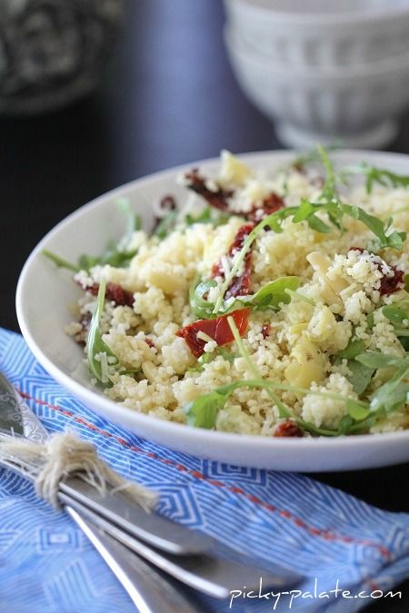 Almond Artichoke Summer Salad!  One of our favorites!Couscous Salad, Summer Couscous, Almond Artichokes, Artichokes Summer, Picky Palate, Summer Salads, Almond Artichoke Summer Salad, Healthy Recipe, Families Dinner