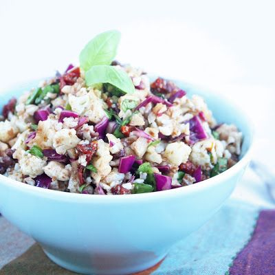 "Mediterranean ""anti"" pasta salad: Orzo or Cauliflower, Radiccio or red cabbage, calamata olives, basil, balsamic vinegar, sundried tomatos, parmesan cheese"