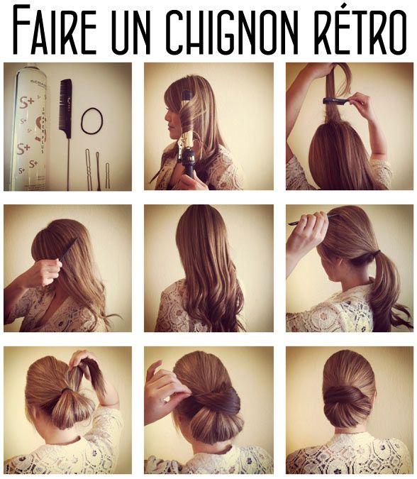 tutoriel coiffure pour faire un beau chignon rétro