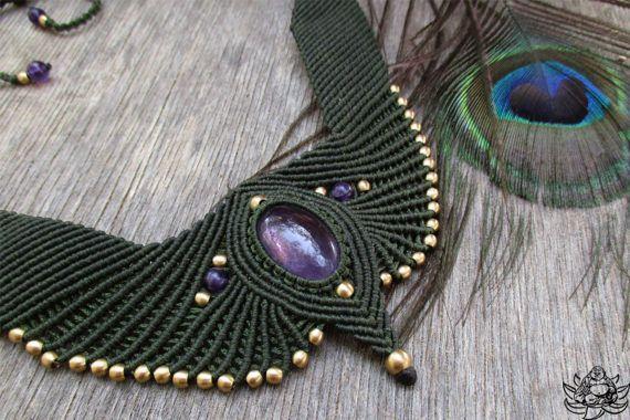 Collier améthyste collier bijoux en macramé collier Bohème