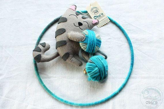 Nursery mobile - Baby Crib Mobile - Custom Mobile - Felt Mobile - Felt Kitten - Felt Cat - Handmade - Made to order - Personalized