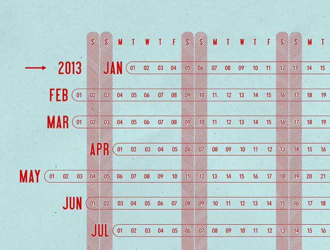The Linear Calendar by the Made Shop.     A year-at-a-glance calendar that shows each month as a single line. The month lines are staggered so that the days of the week are properly aligned and easy to read.