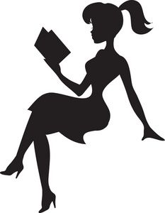 Reading Clipart Image - Silhouette of a Pretty Young Lady Reading ...