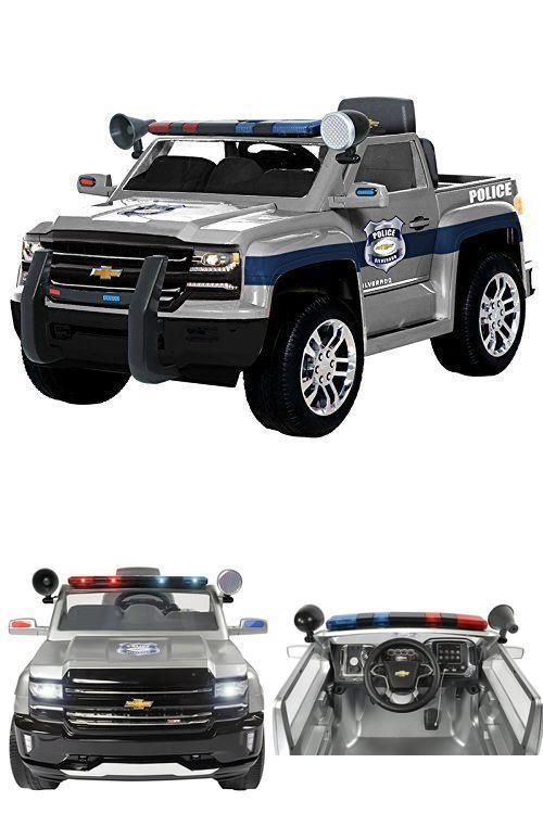 Ride On Car Kids Police Truck Chevy Silverado Battery Wheels 6volt Vehicle Ebay