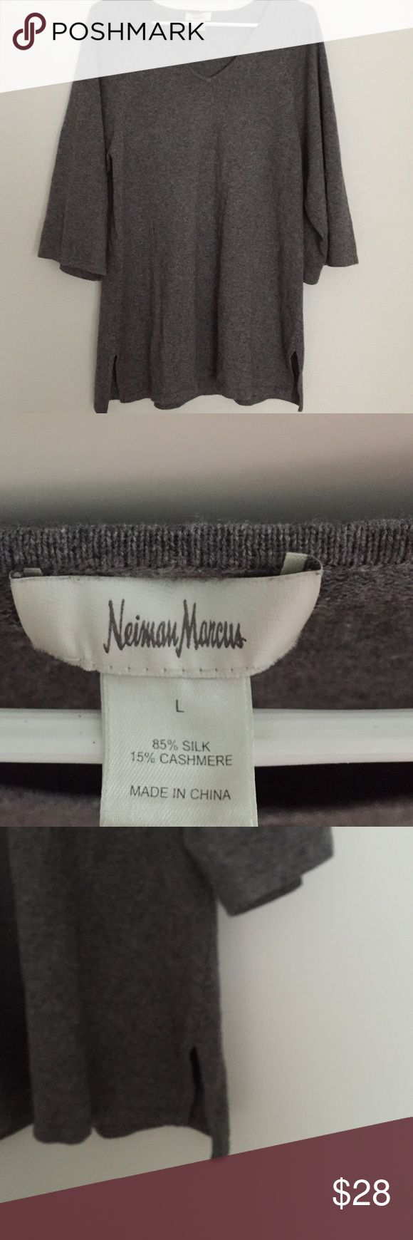 Neiman Marcus V Neck Sweater Great piece to add to any wardrobe! Sweater is V neck. Only worn a handful of times. Has side slits. Silk and Cashmere. Comes from a smoke free, pet free home. Neiman Marcus Sweaters V-Necks