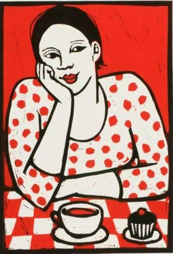 "Anita Klein - ""Tea and Cake"" (2013) - Linocut printed in colours"