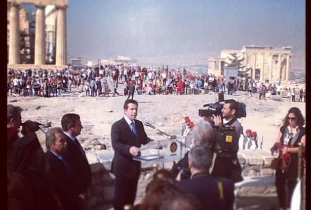 Τελετή Έπαρσης Σημαίας στον Ιερό Βράχο της Ακροπόλεως για την Επέτειο της Απελευθέρωσης της πόλης των Αθηνών