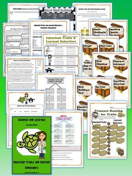 Inherited Traits and Learned Behaviors Science and Literacy Lesson Set  - Common Core, Next Generation Science Standards (NGSS) and STAAR (TEKS) aligned. Easy to follow! Fun for the students! These activities are created to incorporate reading and writing into the Science curriculum.