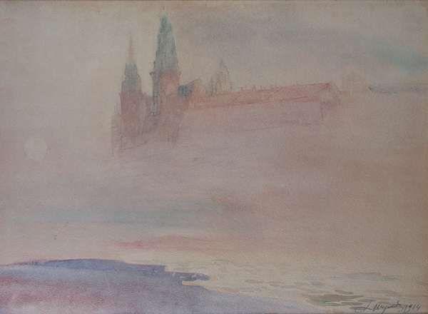 Leon Wyczółkowski - Wawel Castle in fog 1914