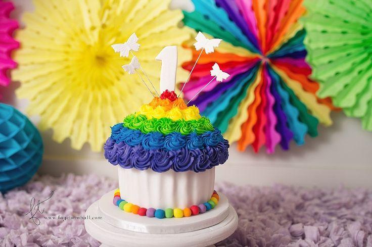 Rainbow cupcake 1st birthday cake for my baby's cake smash