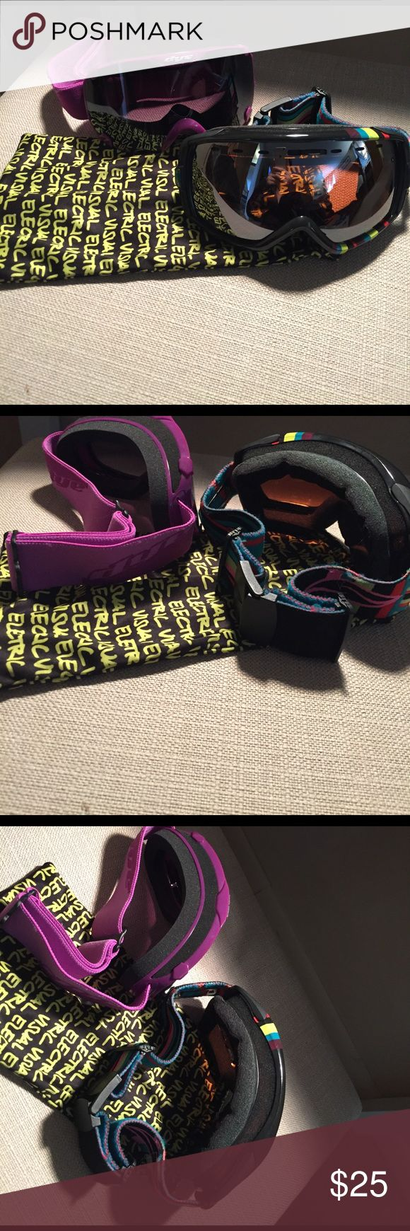 Two pairs women's skiing goggles The dye goggles are nwot and the smith heiress goggles are used smith optics Accessories