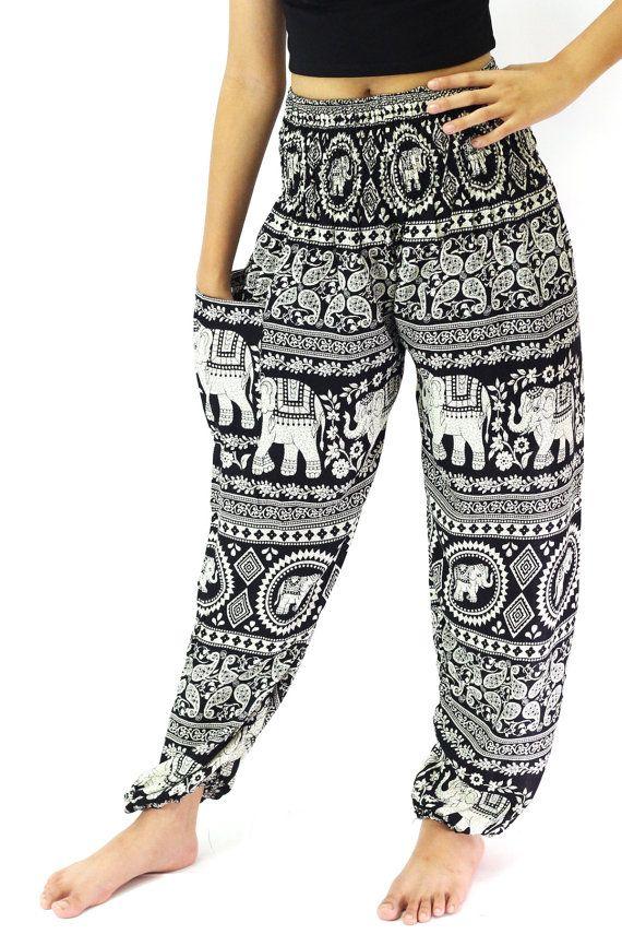black elephant pants boho clothing hippie pants one size fits all strenchy pants /harem pants/boho pants/pantalon thai by bangkokpants on Etsy