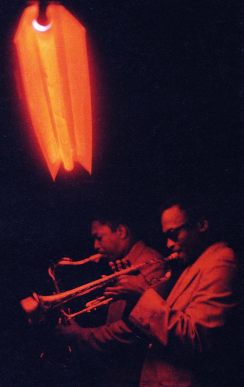 Miles Davis and John Coltrane performing at Jazz club Cafe Bohemia in New York City, ca. 1956.