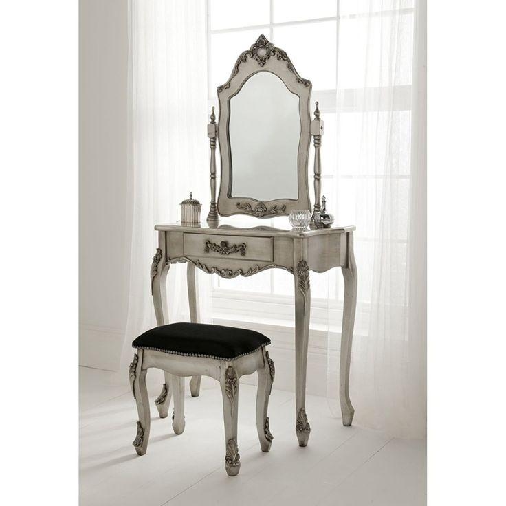 SEG106 Măsuță argintie de toaletă - http://www.emobili.ro/cumpara/seg106-set-masa-argintie-toaleta-cosmetica-machiaj-oglinda-masuta-725 #eMobili