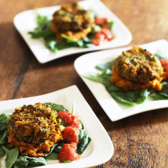 Spicy Chickpea and Spinach Burgers with Mashed Sweet Potato and Raw ...