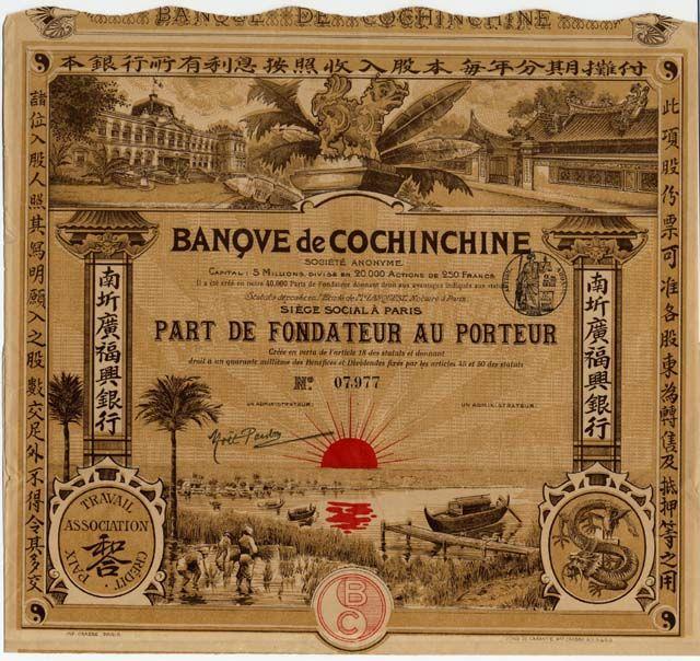 BANQUE DE COCHINCHIN SOCIETE ANONYME Part de Fondateur über Frcs 250; Paris, undatiert, vermutlich 1920