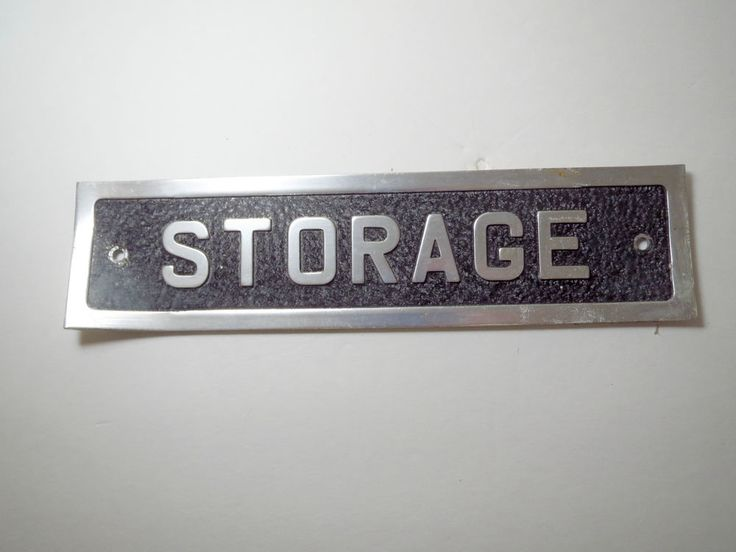 VTG 1970s Aluminum Metal Industrial Door Name Plate Room Sign Closet STORAGE