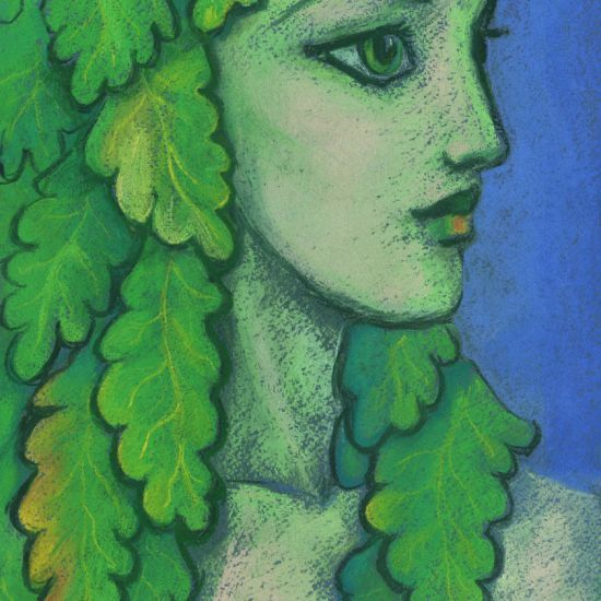 Balanis is the nymph of acorn-bearing trees such as the holm and oak. She can often be found in the trees down by the river-side and in the sacred groves.  Beautiful girl with the green oak leaves instead her hair. Artwork was inspired by ancient Greek statues of Kores.  Fantasy art / illustration, pastel painting, soft pastels on paper, 2017.  © Clipso-Callipso / Julia Khoroshikh  #dryad #Hamadryad #goddess #spirit #nature #Greek #pagan #Haya #divinefeminine #beautifulbizarre…