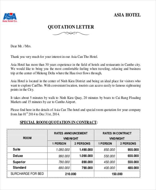 Price Quotation Templates Quotations Quotation Format Lettering
