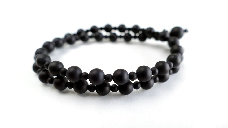 Double male bracelet with many dimensions Matte Black Onyx -Price:18€