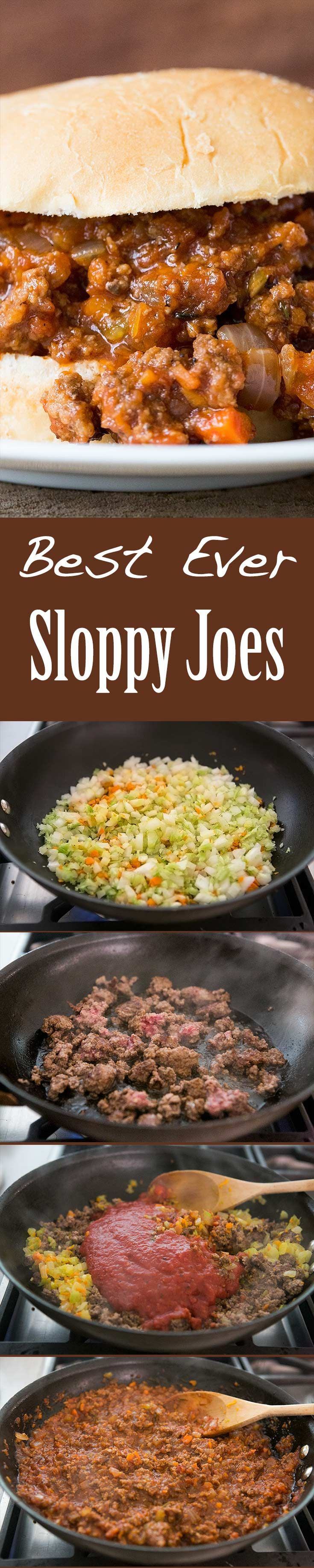 A kid-friendly classic! Sloppy Joes with browned ground beef, onions, garlic, carrots, celery, cooked in sweet sour tomato sauce, served over hamburger buns. On http://SimplyRecipes.com