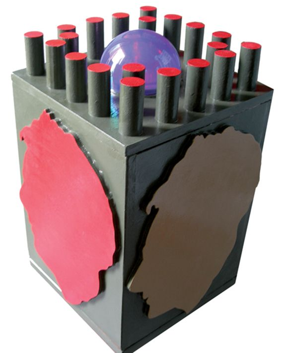 """""""Pensieri colorati"""" legno dipinto e laserpod, cm117x31x31, 207 (part.)"""