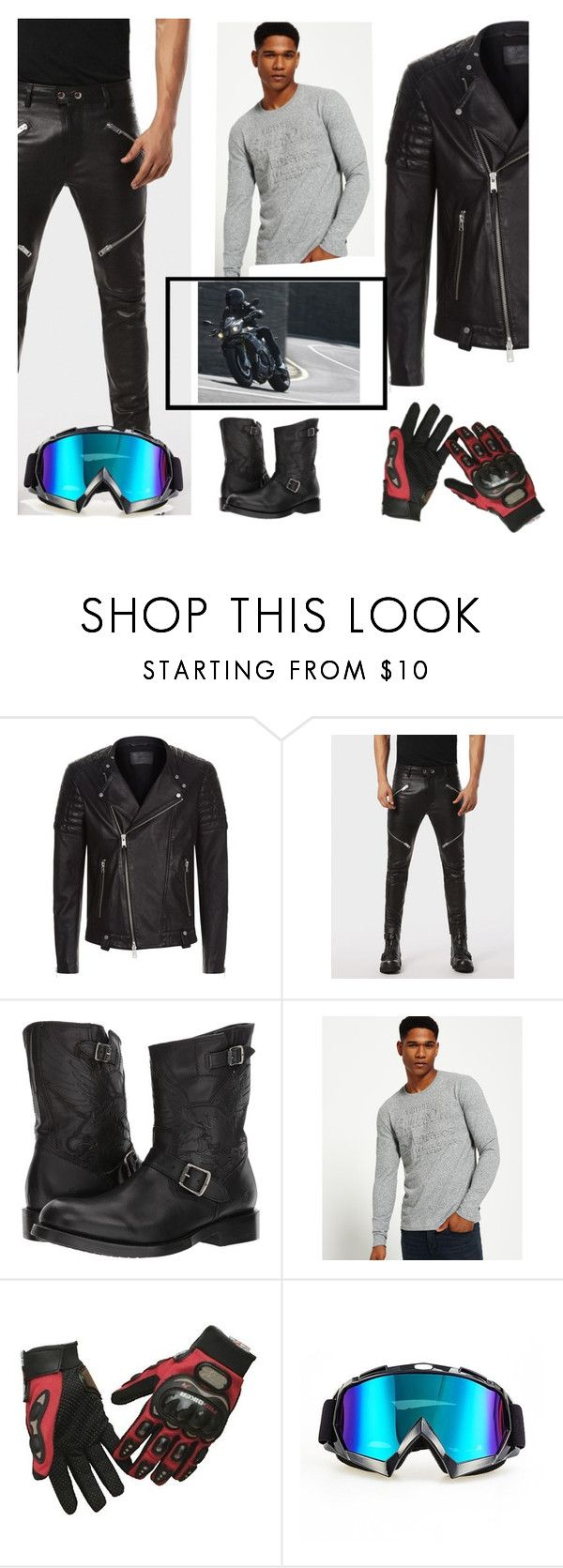 """Biker"" by ladyscarlet01 ❤ liked on Polyvore featuring AllSaints, Diesel, Frye, Superdry, men's fashion and menswear"