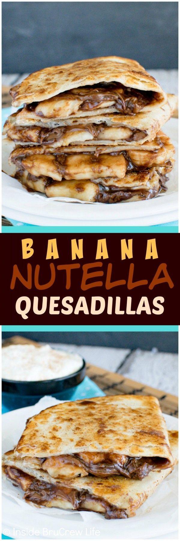 Banana Nutella Quesadillas - cinnamon sugar tortillas filled with banana slices and Nutella makes an awesome no bake dessert recipe!