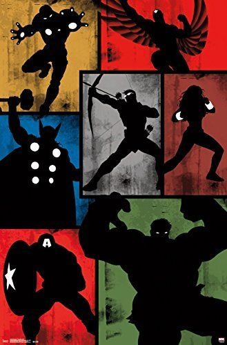 """Marvel Comics Avengers, Simplistic Grid, 22"""" x 34"""", Wall Poster - This licensed Avengers simplistic Grid wall Poster is the perfect addition to every fans collection 22″ x 34″ wall poster Our high quality Print process provides a crystal clear image in full detail, this wall Poster is Frame ready - read more . . . Re-pin - visit to grab an unforgettable cool 3D Super Hero T-Shirt!"""