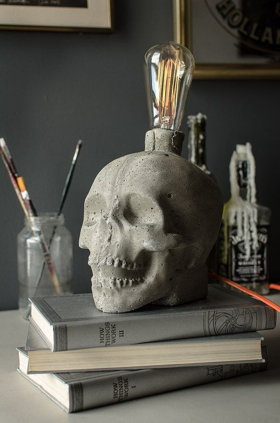 Concrete Skull Lamp by jessefdesign on Etsy - jokey, me like