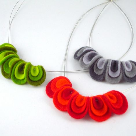 felt necklace. These might work with Brenda's wire necklaces... not sure how.