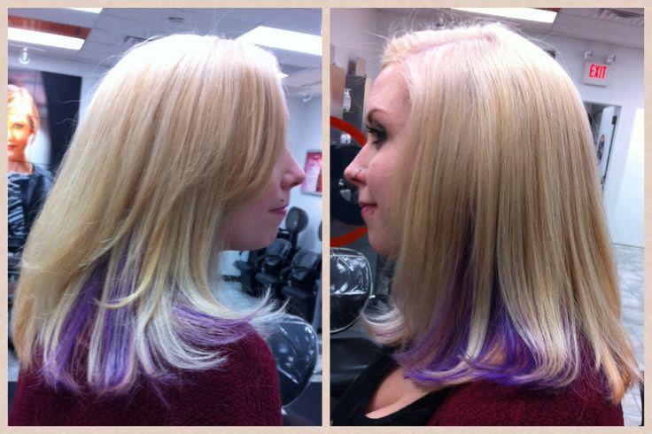 Platinum Blonde Hair With Purple Peekaboo Ombre Bleach
