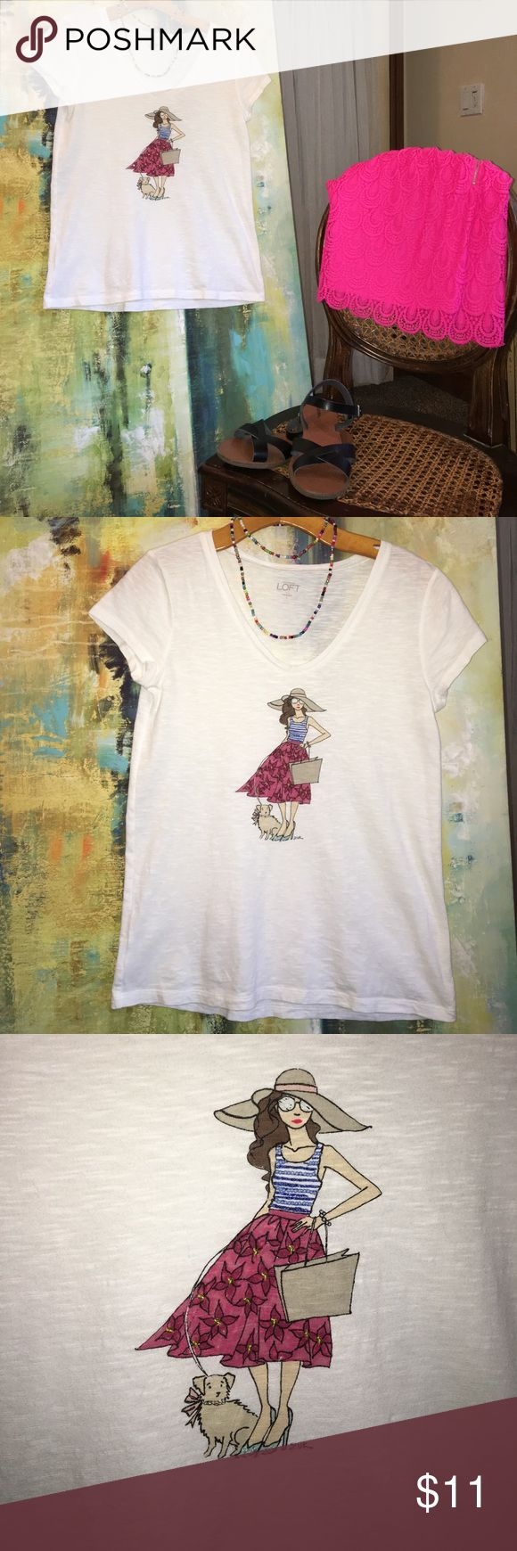 Anne Taylor Loft Girl & Dog T shirt Great for summer light weight, 100% cotton & looks super cute with a skirt or shorts! Tops Tees - Short Sleeve