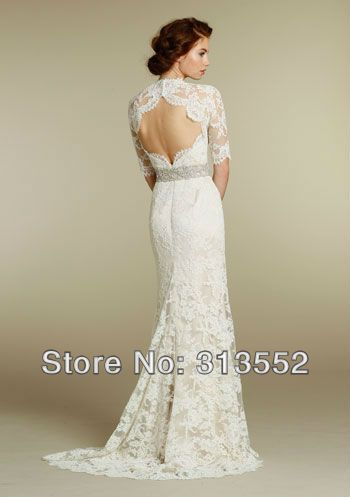 Free shipping long sleeves chic vintage lace wedding dress for Vintage lace wedding dress open back