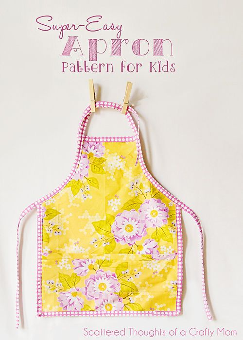 Get the free pattern and tutorial to make this super easy childs apron.  (perfect to use up fabric scraps)