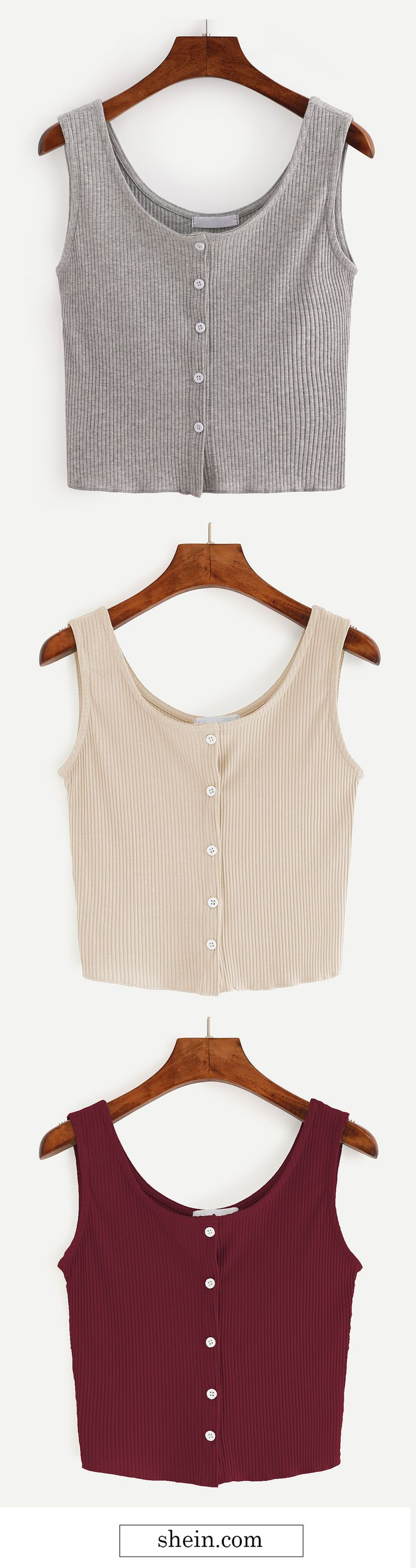 Buttoned front ribbed knit crop tank top.