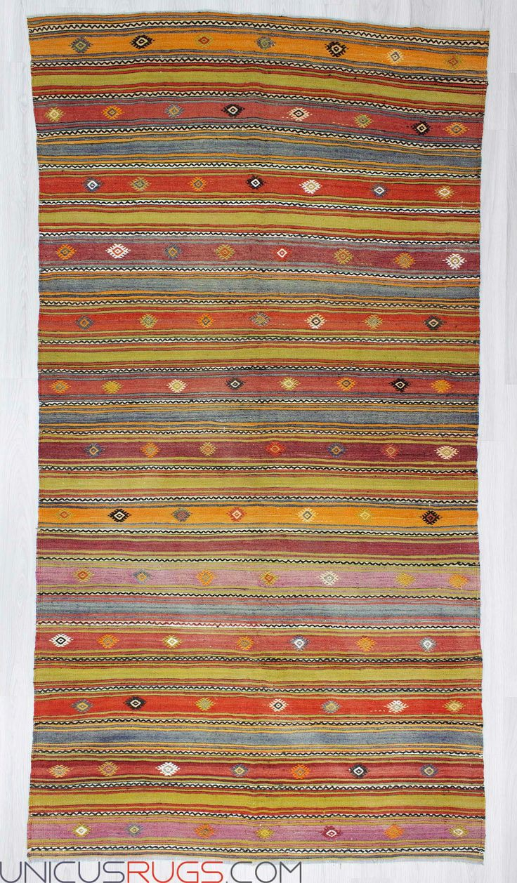 """Vintage handwoven striped kilim rug from Denizli region of Turkey. In very good condition. Approximately 40-50 years old. Width: 5' 6"""" - Length: 10' 7"""" Striped Kilims"""