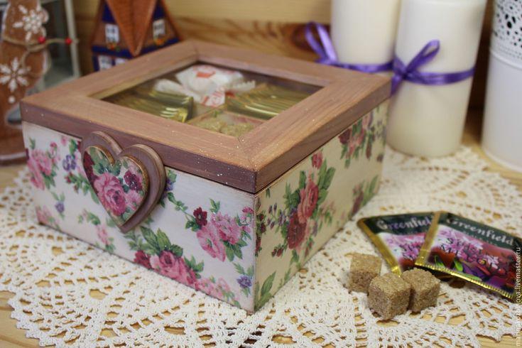 Купить Шкатулочка для чая, шкатулка со стеклом, короб для хранения))) - шкатулка, шкатулка деревянная