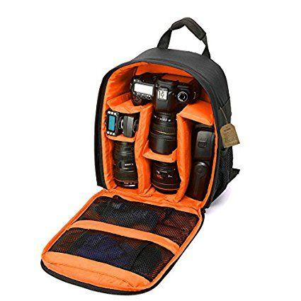 "Camera Backpack DSLR SLR Camera Bag Camera Case Waterproof for Canon, Nikon, Sony, Olympus, Samsung, Panasonic, Pentax Cameras (Orange) 13.3"" X 9.8 ""X 5.1"""