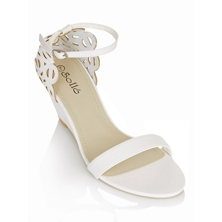 Laser Cut Out Back Ankle Strap Heels White | Sollé | spree.co.za