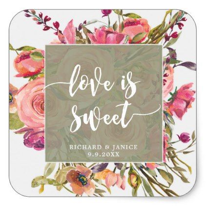 wildflower floral love is sweet sticker wedding - craft supplies diy custom design supply special