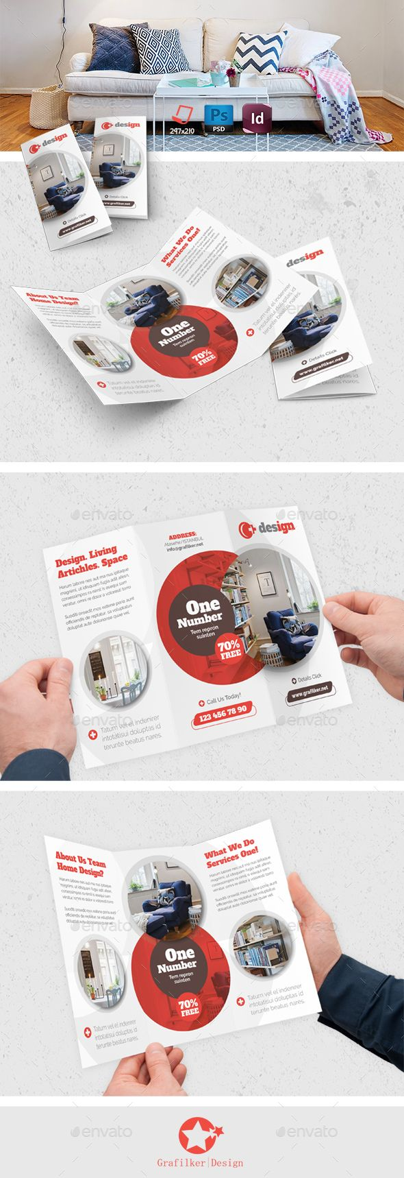 Interior Design Tri Fold Template PSD InDesign INDD Download