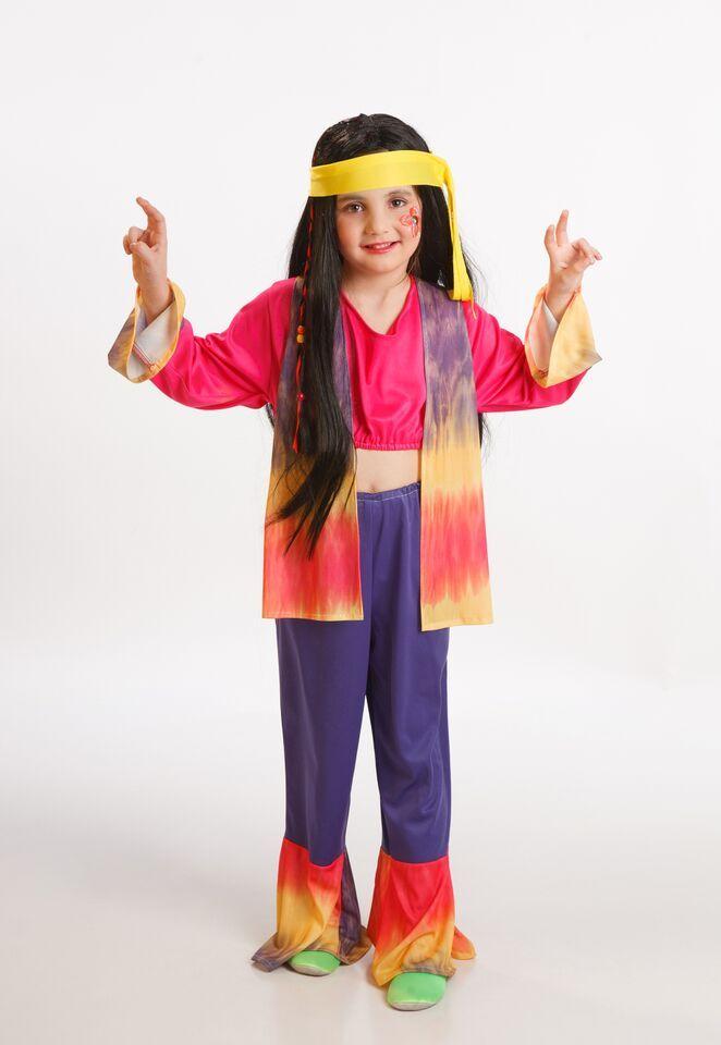 DisfracesMimo, disfraz de hippie con chaleco colorido de niña varias  tallas. Los pequeños de